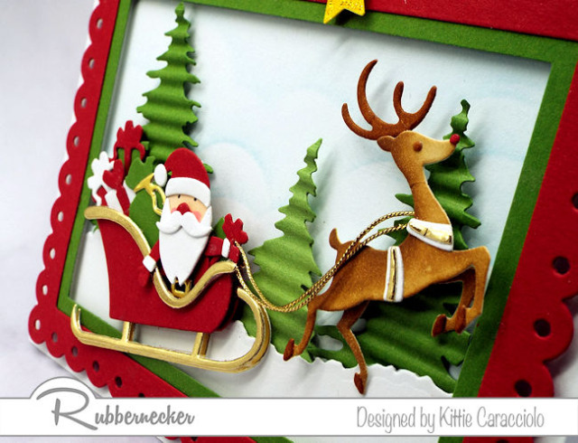 You can create this handmade santa claus card by using new dies from Kittiekraft by Rubbernecker available now