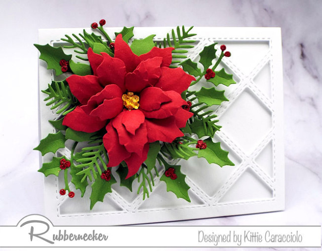 this new diamond grid die from Rubbernecker looks perfect behind a lush poinsettia made using die cut petals