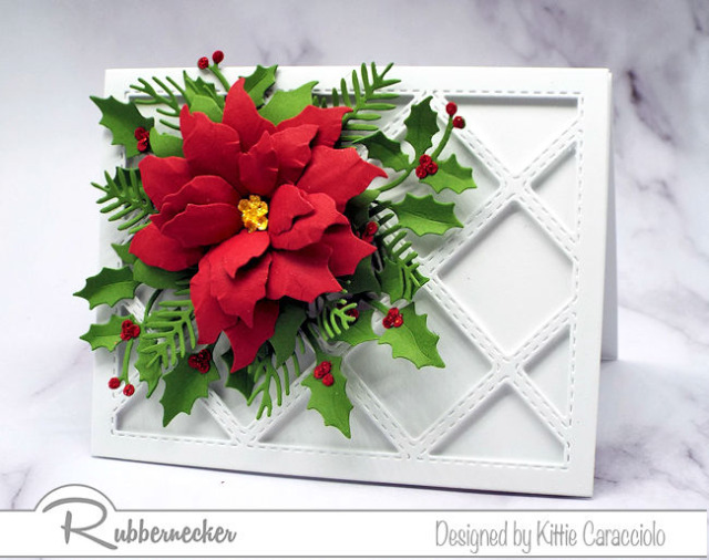 a new diamond grid die from Rubbernecker backing a stunning, detailed die cut poinsettia using dies from Rubbernecker