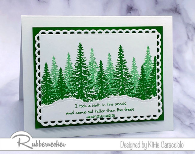 one of my easy to make pine tree cards using stamps and dies from Rubbernecker