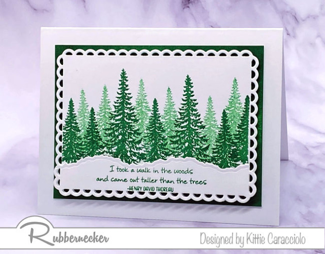 pine tree cards like this in several shades of green with crisp white are easy to make using stamps from Rubbernecker to create the forest shown