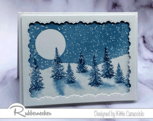 A Beautiful Hand Stamped Winter Pine Tree Card!