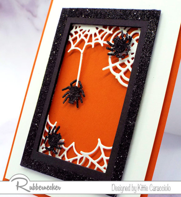 halloween spider greeting cards in black, white and orange for a traditional theme and glittery spiders for some added fun