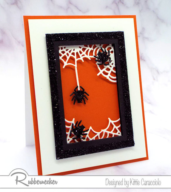 halloween spider greeting cards made with layered frames and glitter covered spiders for lots of fun depth and dimension