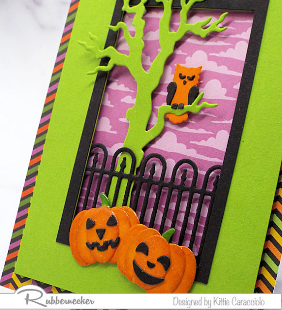 a detail from today's handmade Halloween card ideas showing the dimension provided by adding die cut elements in layers