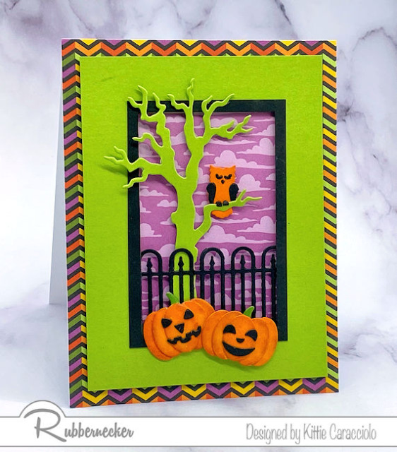 handmade Halloween card ideas using die cut elements in bright colors to make it more cheerful than spooky
