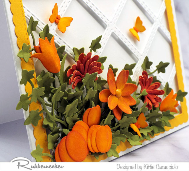 a close up look at one  of my handmade fall cards made with easy to use dies from Rubbernecker